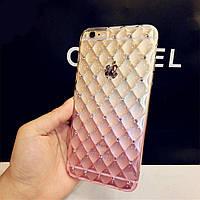 Чехол-накладка мягкий силиконовый, розовый сота градиент с камушками для iphone 6 6s