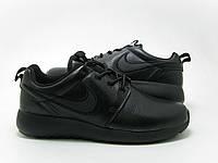 Кроссовки мужские найки Roshe Run II черные выполнены в коже