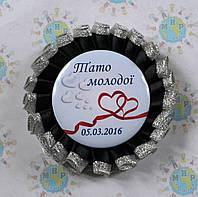 Значок для свадьбы с двойной розеткой Чёрное серебро