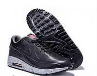 Кроссовки мужские Nike Air Max Lunar черные с серым кожаные