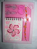 Подарочный набор для девочки, заколки, резинки, блокнот, браслет