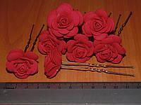 Шпильки стального цвета с красной розой
