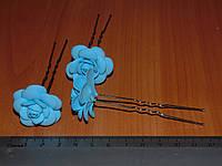Шпильки стального цвета с голубой розой