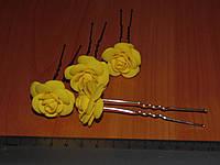 Шпильки стального цвета с желтой розой