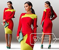 Красивое облегающее красное платье-миди с желтой вставкой. Арт-3242/23