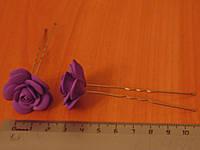 Шпильки стального цвета с фиолетовой розой