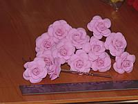 Шпильки стального цвета с розовой розой