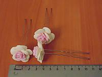 Шпильки стального цвета с бело-розовой розой