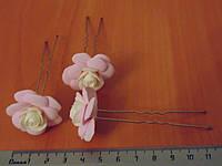 Шпильки стального цвета с розово-белой розой