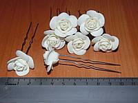 Шпильки стального цвета с розой молочного цвета