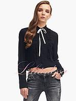 Женская блузка с рюшами Алисия черная