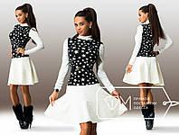 Белое платье с черной вставкой звездочки. Арт-3244/23