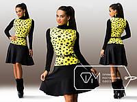 Черное платье с желтой вставкой звездочки. Арт-3244/23
