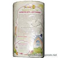 Впитывающие салфетки для подгузников из 100%бамбука 100 листов в рулоне