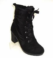 Женские зимние ботинке на каблуке