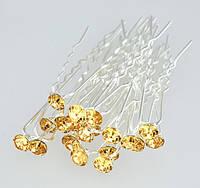 Шпильки с бледно-желтым камнем