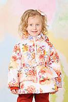 Куртка демисезонная для девочки принт цветы