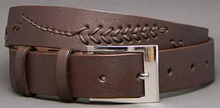 Дизайнерский женский ремень из натуральной кожи Колосок 3,5 см Svetlana Zubko S35201 коричневый
