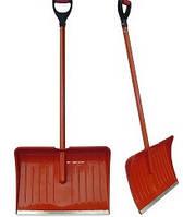 Лопата снеговая с обрезиненной металлической ручкой 335х440х1350 мм, красная (шт.), код 99-701