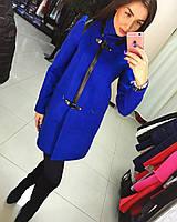 Женское демисезонное пальто с оригинальной вставкой из кожи различные цвета АБ 0330