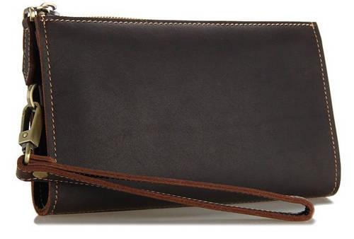 Практичный кожаный мужской клатч S.J.D. 8045R коричневый