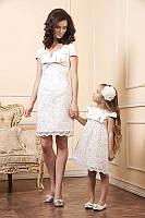 Эксклюзивный набор мама и дочка из стрейч-атласа с дорогим гипюром