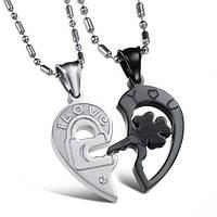 """Колье для влюбленных в форме сердца """"Хранители Верности"""" Black Edition кулоны для пары"""