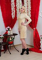 Платье до колена с гипюром беж, фото 1