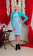 Платье до колена с гипюром голубое, фото 1