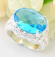 Кольцо для лэди,синий топаз ручной работы серебра 925 пр