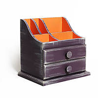 Удобная шкатулка-органайзер на стол «Sophia» темно фиолетовый, оранжевый