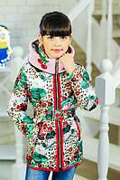 Красивая и качественная демисезонная курточка для девочки с принтом