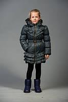 Удлиненная куртка для девочки в горошек на весну-осень + сумка