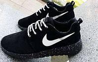Беговые кроссовки мужские Nike Roshe Run черные замшевые с белым