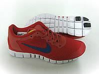 Кроссовки беговые мужские Nike free run 3.0 красные с синим