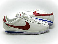 Крутые кроссовки мужские Nike Cortez белые с красным