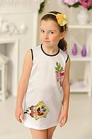 Летний белый сарафан для девочки с оборками Губка Боб