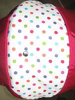 Коляска для кукол Mini Ring Adbor 301 малиновая (горошек цветной на белом)