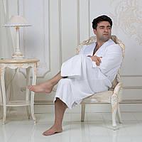 Махровый мужской халат с атласным воротником Austin. Белый M, все размеры.