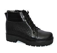 Кожаные женские зимние ботинки на шнуровке, подошва тракторная, фото 1