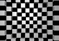 Фотообои флизелиновые  черный+белый квадрат 366*254 Код 968