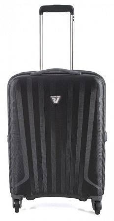 Малый прочный пластиковый чемодан 4-колесный 35 л. Roncato UNO ZIP SPOT 5083/02/01 черный