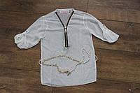 Шифоновая блузка для девочек 4- 6- 8- 10- 12- 14 лет. Цвет:белый,розовый,желтый