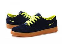 Кроссовки мужские Nike Pepper синие с салатовым в замше