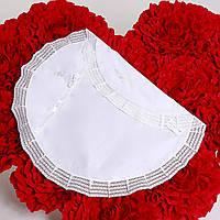 Крыжма утепленная Славянская  от  Miminobaby круглая, белая с серебряной вышивкой