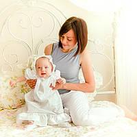 Платье для крещения девочки Машенька от Miminobaby от 6 до 12 месяцев, белое с серебряной вышивкой вышивкой