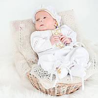 Крестильный костюм для мальчика Иванушка от Miminobaby от 0 до 3 месяцев, белый с золотой вышивкой