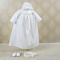 Набор для крещения девочки Дантэ (рубашка, шапка, пинетки) от  Battesimo от 6 до 12 месяцев белый