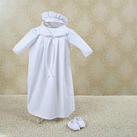 Набор для крещения малыша Дантэ (рубашка, шапка, пинетки) от  Battesimo от 6 до 12 месяцев белый