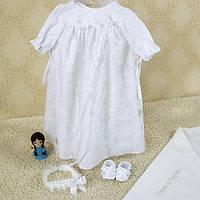 Набор для крещения Белисса (рубашка, шапка, пинетки, повязка) от  Battesimo от 0 до 6 месяцев